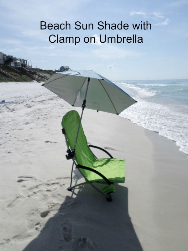 Beach Sun Shade With A Clamp On Umbrella. This One Tilts And Rotates In  Every