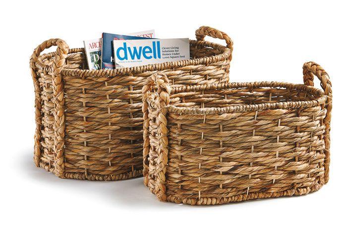 Water Hyacinth Woven Oval Basket Set/2 - Hudson and Vine