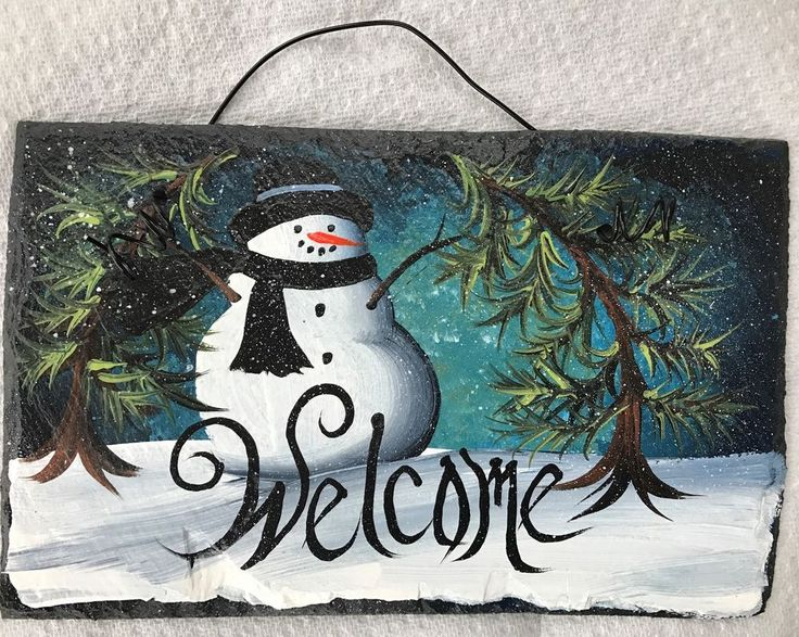 """WINTERY Snowman Teal MISTY SNOW Welcome PERSONALIZE Handpainted Slate 6"""" x 10"""""""