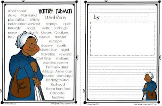 word bank and the matching story paper for Harriet Tubman