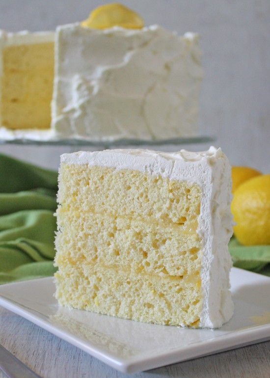 Lemon Chiffon Cake Recipe ~ The cake is light and airy – with a not-too-sweet whipped cream frosting and filled with creamy delicious Lemon Curd.