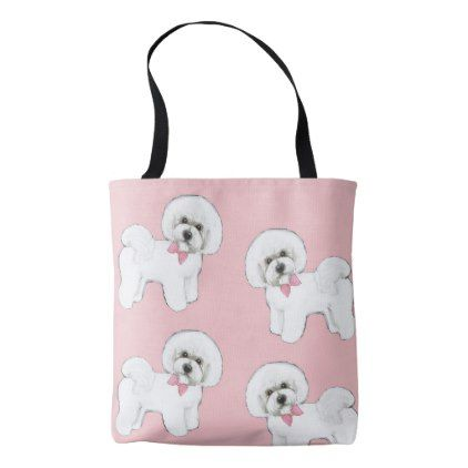 Bichon Frise Tote Bag in pink 2018  fashion shade - gift for her idea diy special unique