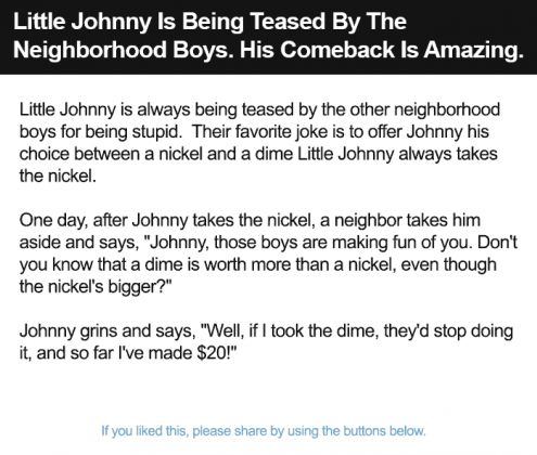 Little Johnny Is Being Teased By The Neighborhood Boys
