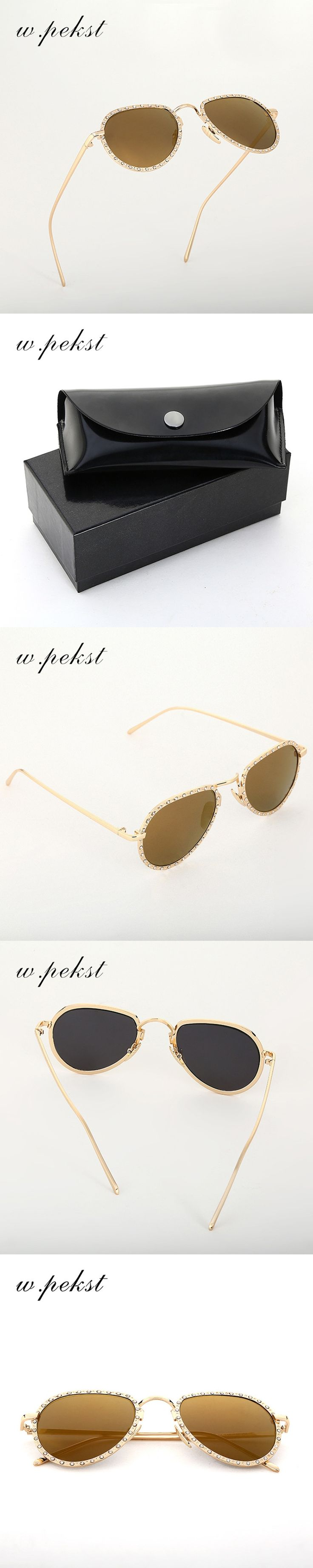 w.pekst Women Sunglasses Polarized Crystal Classic Oval Design Eyewear Anti UV400 Protection Casual Outfits Colorful Style