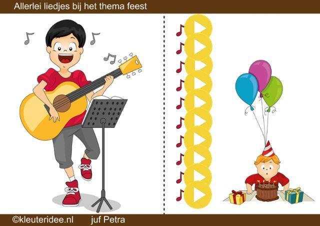 Interactieve liedlijst thema feest, kleuteridee.nl by juf Petra van Ginkel, allerlei liedjes bij de kinderboekenweek 2014