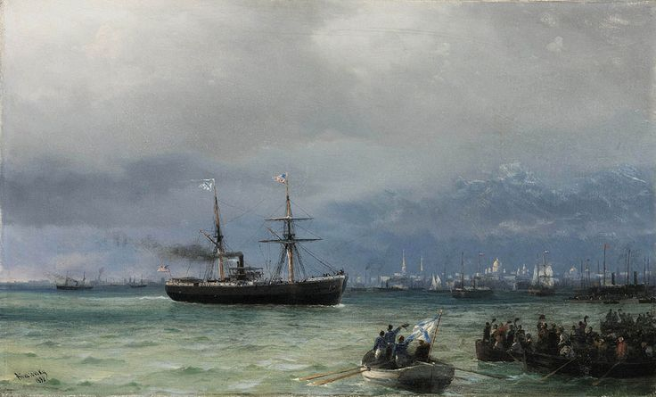 Ivan Konstantinovich Aivazovsky. Supply Ship. Buy this painting as premium quality canvas art print from Modarty Art Gallery. #art, #canvas, #design, #painting, #print, #poster, #decoration