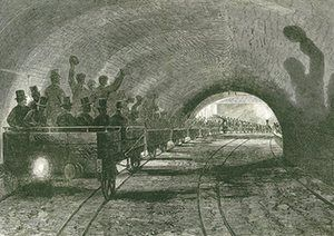 A trial trip on the Metropolitan line, passing Portland Road station. The line opened to the public in 1863. From The Illustrated London News, 13 September 1862.  -   Photograph: UniversalImagesGroup/Getty Images