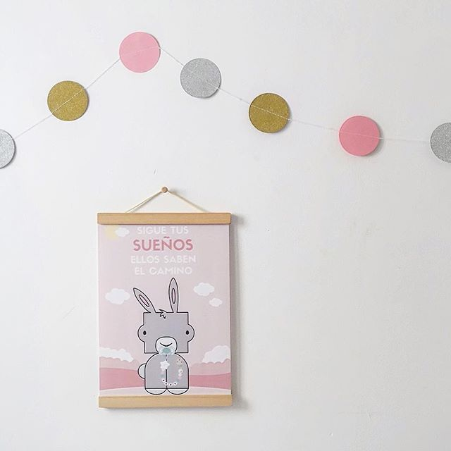 Baby room decoration ideas Cute bunny poster and glitter garland