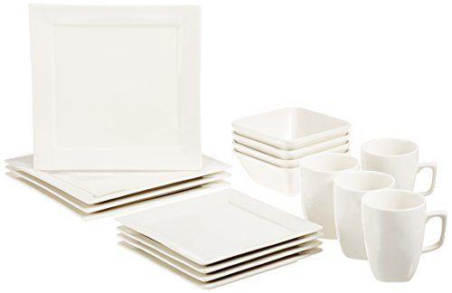 AmazonBasics 16-Piece Classic White Dinnerware Set, Squar