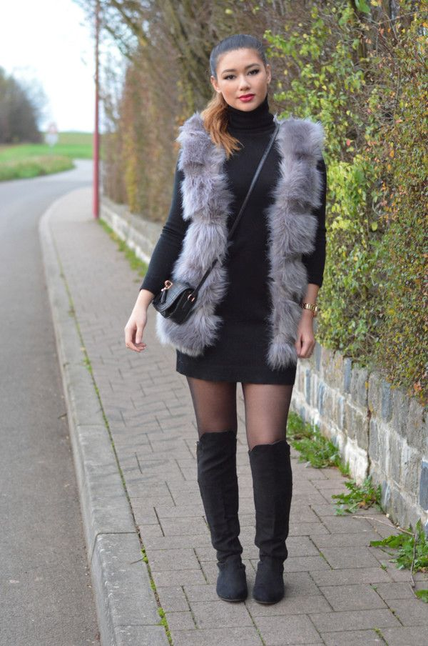 Jacket: bodycon dress, faux fur vest, paris hilton, dress - Wheretoget