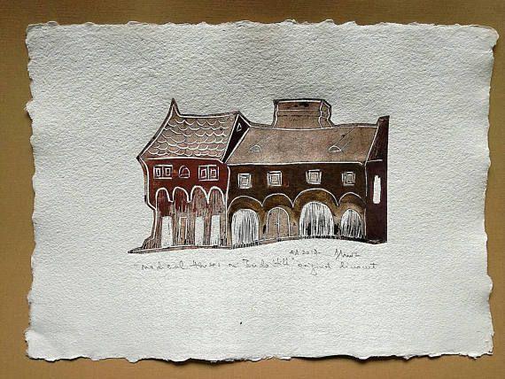 Linocut print on handmade paper medieval houses on Buda Hill