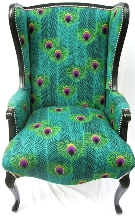 Greenhouse Fabric: A1586/ Radicchio on Reupholstered Chair