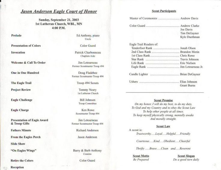 eagle scout court of honor program template jason anderson eagle court of honor program troop 494