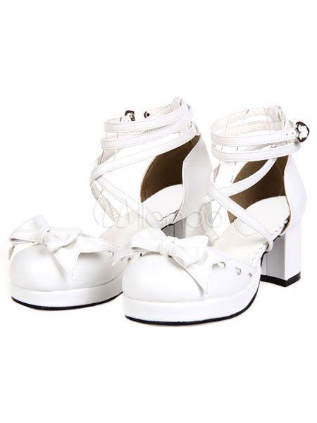 728e11959bb1 Sweet Chunky Heels Lolita Shoes Ankle Straps Heart Shape Buckles Bows   Lolita