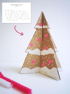 Bricolage de noël : Gabarit de sapins de Noël en papier