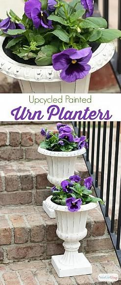 Upcycled Urn Planters | Atta Girl Says #decoartprojects #americanadecor #chalkyfinish