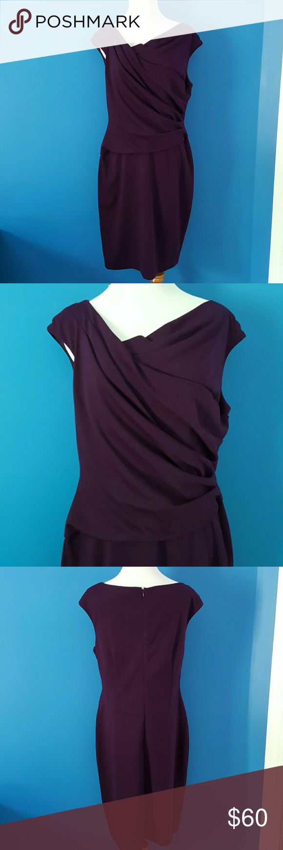 Fall Sale -- Ralph Lauren Dress Royal purple color. Side ruching. Cross over neckline. Cap sleeves. Heavy weight to material. Polyester, Rayon and Elastane blend. New with tags - never worn! Ralph Lauren Dresses Midi