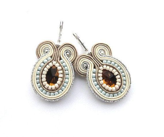 SALE - Wedding Soutache Earrings, Bridal Neutral Earrings on Etsy, $31.00