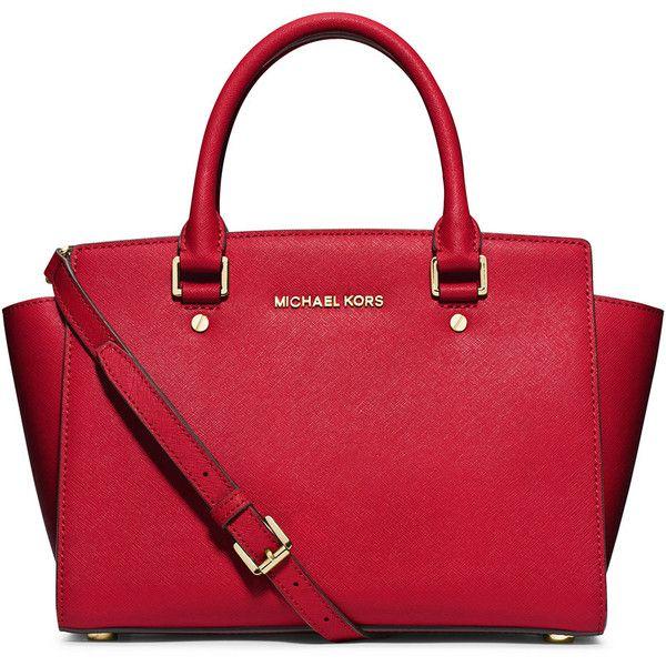MICHAEL Michael Kors Selma Saffiano Satchel Bag (13,800 PHP) ❤ liked on Polyvore featuring bags, handbags, red, red handbags, red satchel handbags, red purse, logo bags and satchel handbags