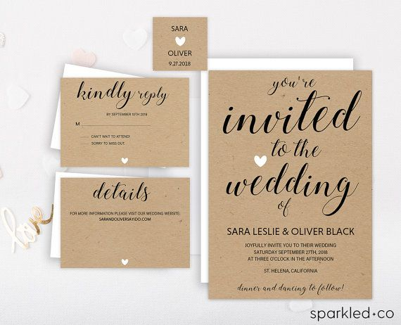 Rustic Wedding Invitation Template Wedding By Sparkledco On Etsy