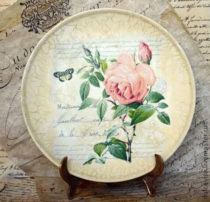 Decoupage roses antiqued plate. #decoupage #decor