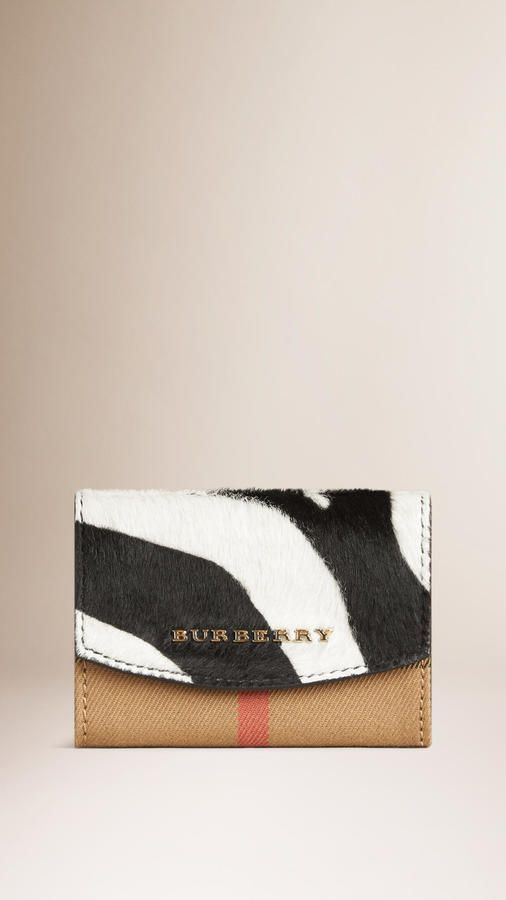 Burberry House Check Zebra Calfskin Card Case