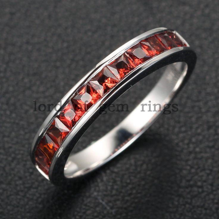 Invisible Princess Cut .85ctw Garnet 14K White Gold Engagement Wedding Band Anniversary Ring