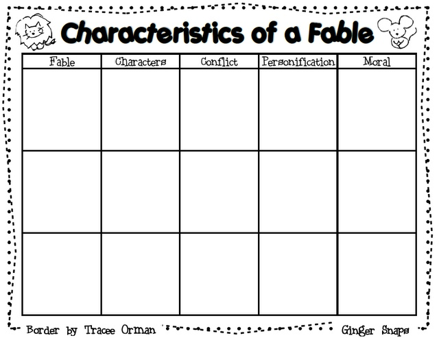 Characteristics Of A Fable Graphic Organizer Free