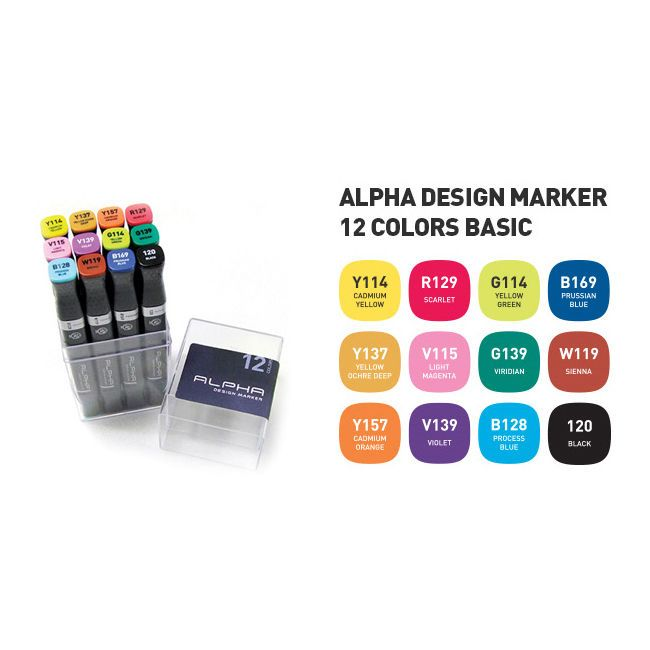 Graphic Art Marker Alpha Design Marker Twin Tip 12 Colors Basic illustration #Alpha