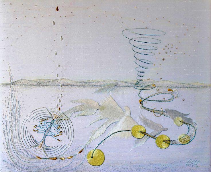 Broderie : Souffle. Peinture à l'aiguille aux fils de soie et fils  métalliques Création et réalisation : Christiane Plamondon Hallé