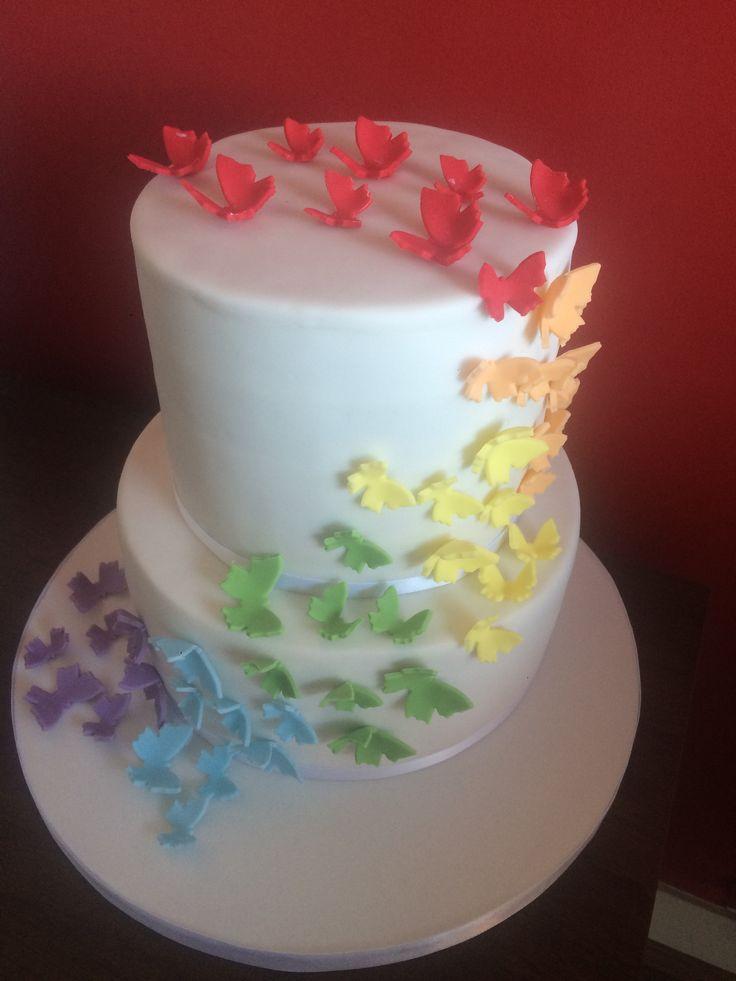 Rainbow butterfly birthday cake