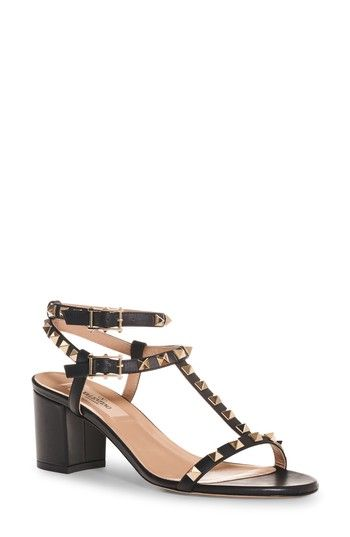 6b3c63254789 Free shipping and returns on VALENTINO GARAVANI Rockstud Ankle Strap Sandal  (Women) at Nordstrom.com. A chunky wrapped heel in a walkable height gr…