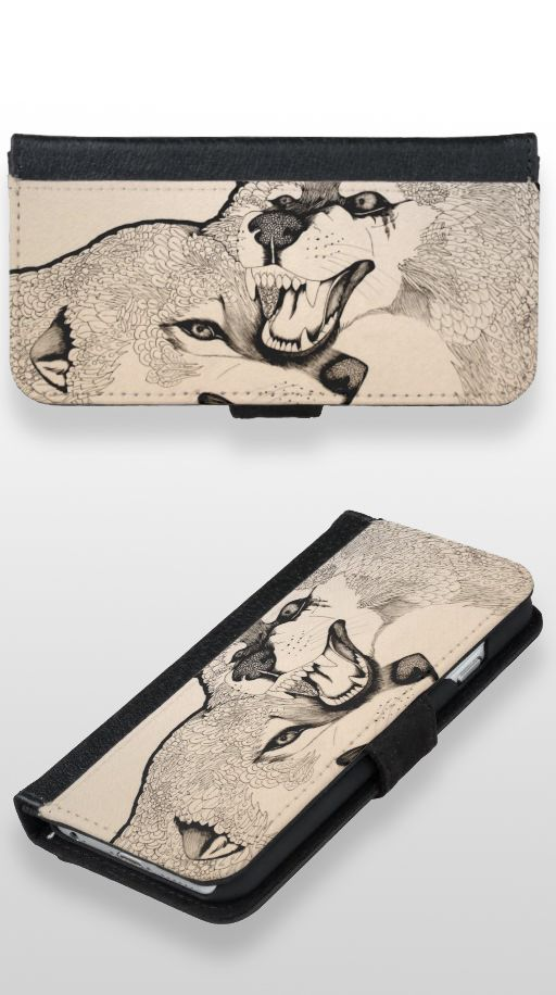 """Again"" Black and white abstract wolf couple iPhone 6/6s Wallet Case"