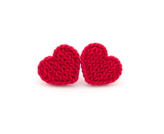 These are made from polymer clay, not yarn.  Still, too cute and affordable at $15.00! Little red heart earrings   by TheCraftyBeeOnline