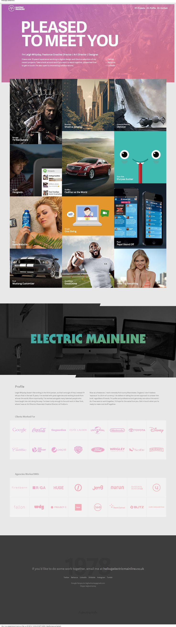 Portfolio website freelancer | http://www.electricmainline.co.uk/