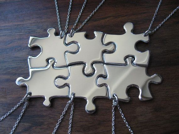 6 Puzzle Piece Pendant Necklaces Argentium Silver --I would love to have this for my family, with each piece personalized with our names--