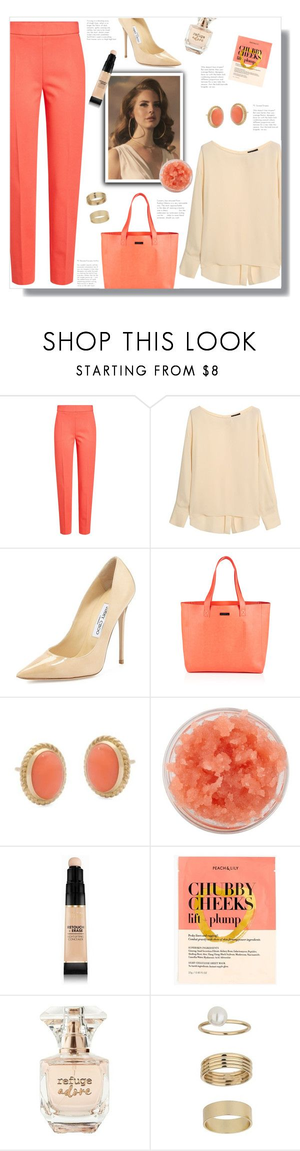 """""""How to wear a Tailored Trouser!"""" by disco-mermaid ❤ liked on Polyvore featuring MaxMara, Theory, Jimmy Choo, Superdry, Ross-Simons, Sara Happ, Milani, J.Crew, Refuge and Miss Selfridge"""