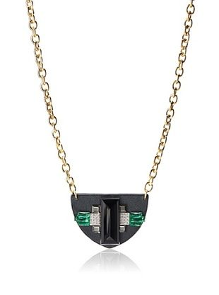 60% OFF Sandy Hyun Leather, Crystal and Glass Necklace, One Size