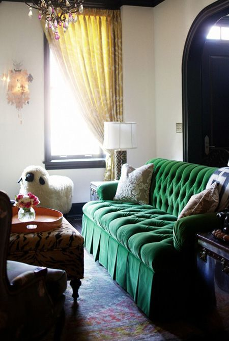 kelly green tufted sofa...whats better?  Perhaps a dark navy or peacock blue?