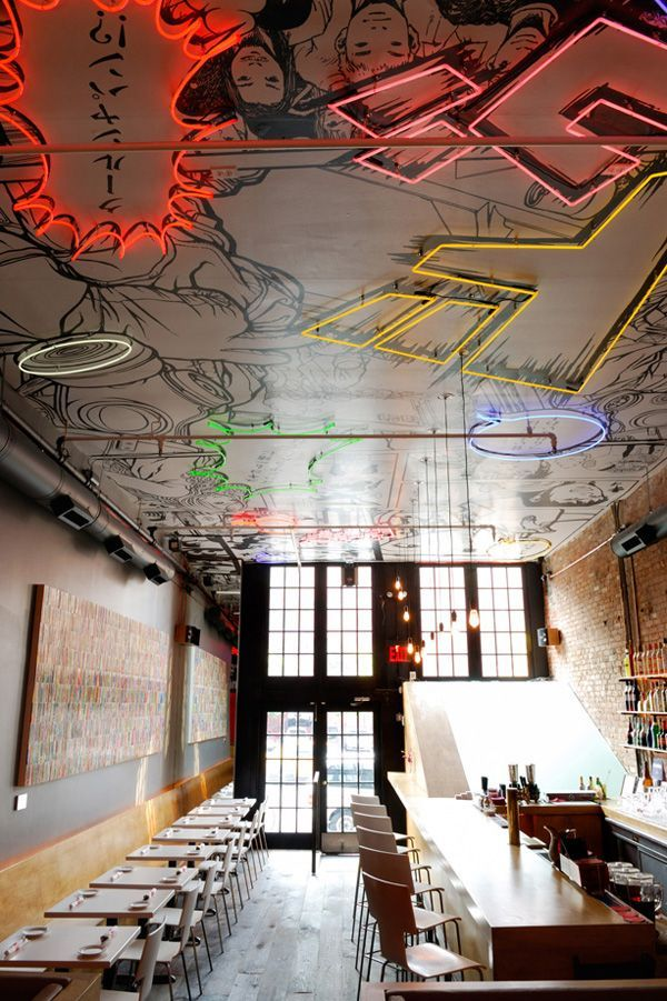 Tokyo Bar Nyc With An Awesome Neon Manga Ceiling Next Time I 39 M In Nyc I 39 M Stopping By