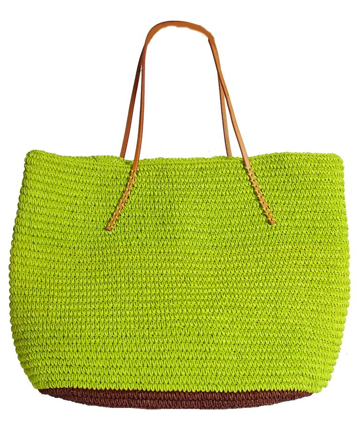 Hat Attack Twisted Color Block Tote in Lime at Pesca Boutique. - Price: $89.00