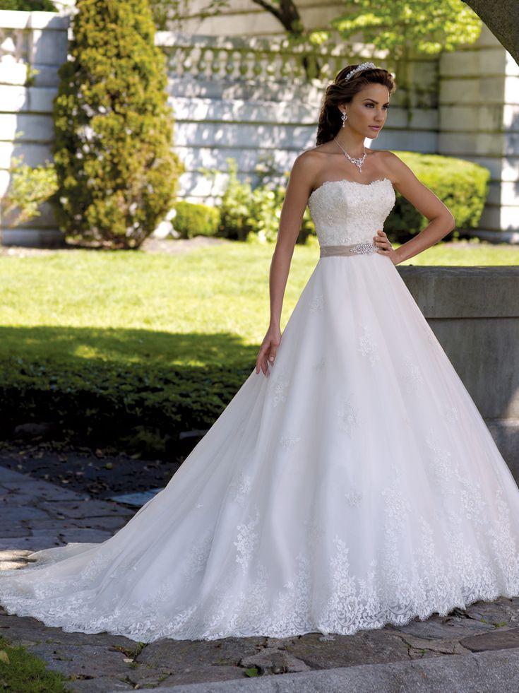 Simple Strapless Lace Bodice A Line Margie David Bridal Dress Tutera Mon Cheri DimitraDesigns