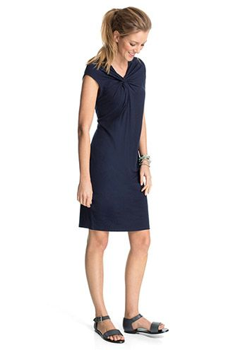 Esprit / soft jersey dress with a knotted drape