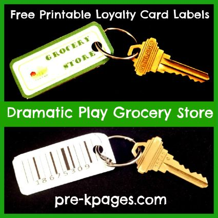 Paint Chip Loyalty Cards for Dramatic Play Grocery Store Center via www.pre-kpages.com