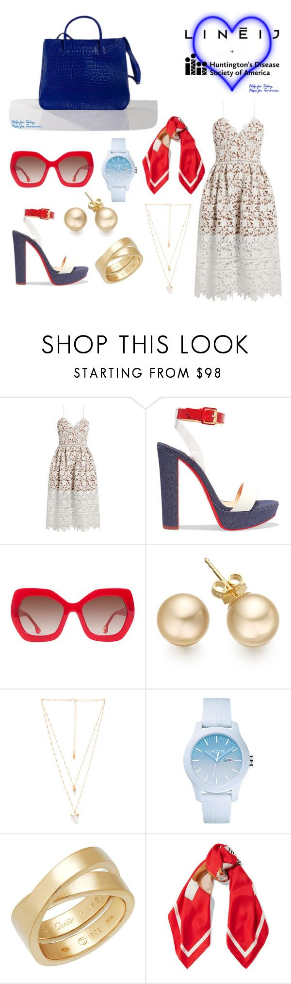 """""""A Beautiful Do Gooder!"""" by lineijinc ❤ liked on Polyvore featuring self-portrait, Christian Louboutin, Alice + Olivia, Natalie B, Lacoste, Cartier and Moschino"""