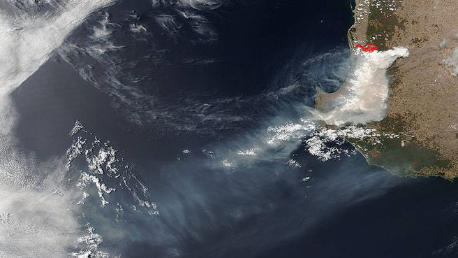 Smoke produced from the deadly bushfires in WA s South West can be seen clearly from space.