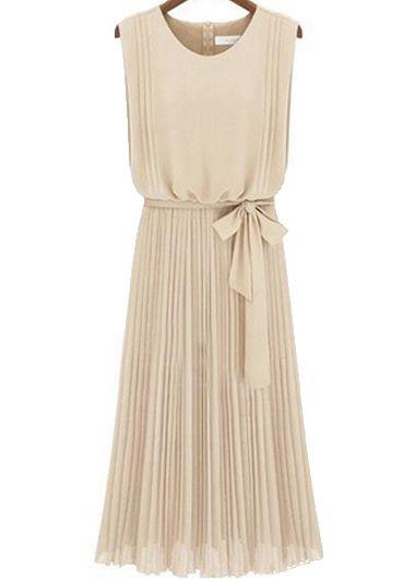 Graceful Apricot Round Neck Sleeveless Dress| Rosewe.com