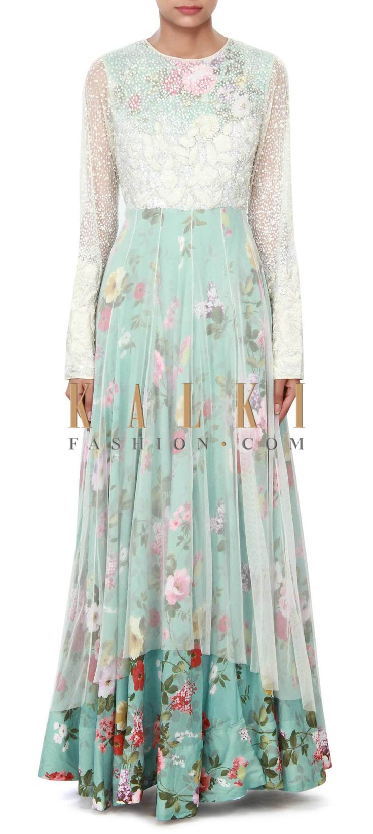 Buy Online from the link below. We ship worldwide (Free Shipping over US$100) Price- $389 Click Anywhere to Tag http://www.kalkifashion.com/white-and-blue-dress-featuring-in-resham-and-sequin-embroidery-only-on-kalki-20716.html