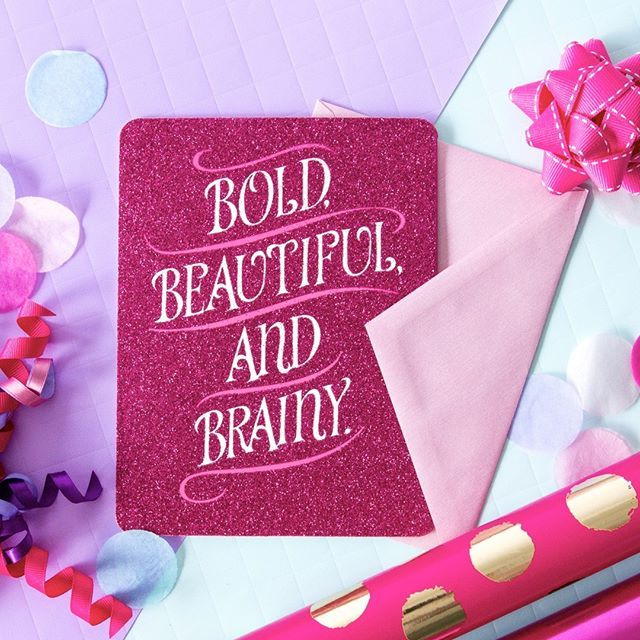 A card for all those BOLD, BEAUTIFUL & BRAINY girls out there.    #bold #beautiful #brainy #pink #flatlay #styled #card #johnsands #giftpackaging #rollwrap #birthday