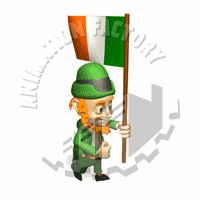 Leprechaun Walking with the Irish Flag Animated Clipart